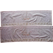 c 1915 Valances Antique Curtain Pale Pink Hand Embroidery Wallpaper Stripe Fabric