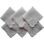 Cutwork Tea Napkins Vintage Linen Hand Embroidered 3 Good 3 TLC