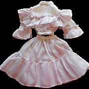 Antique Doll Dress Two Piece Ca 1900 Lavender Stripe Ruffles