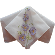 Madeira Hankie Organdy Attached Pansies Hand Embroidered Unused Fine Linen