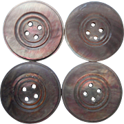 Antique Buttons 4 Matching Gray Mother Of Pearl