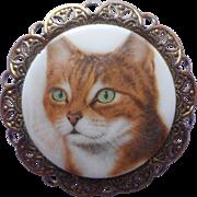 Vintage Cat Pin Brooch Filigree Porcelain China Western Germany