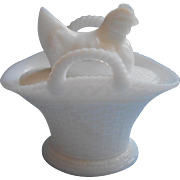 Vintage Milk Glass Hen In Straw On Basket Handles Box Vintage Westmoreland