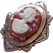 Vintage Cameo Pin Art Deco Setting With Plastic Cameo