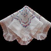 Vintage Hankie Pink Blue Flowers Print Lace Trim Very Feminine