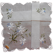 Vintage Hankie Lilies Embroidery Swiss Unused Original Label
