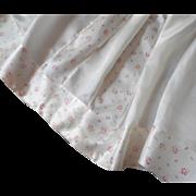 Vintage Satin Bedspread Cream Pink Roses RosebudsShabby Elegant TLC