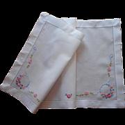 1920s Dresser Scarf Vintage Runner Linen Hand Embroidery Pink Blue