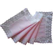Vintage Runner Pink Cotton White Eyelet Lace