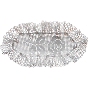 Bread Tray Doily Antique 1910s  Filet Crocheted Lace Rose