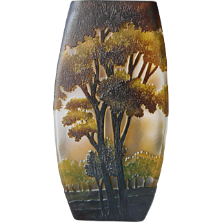 Cameo Glass Vase Trees 10 Inch Vintage Studio