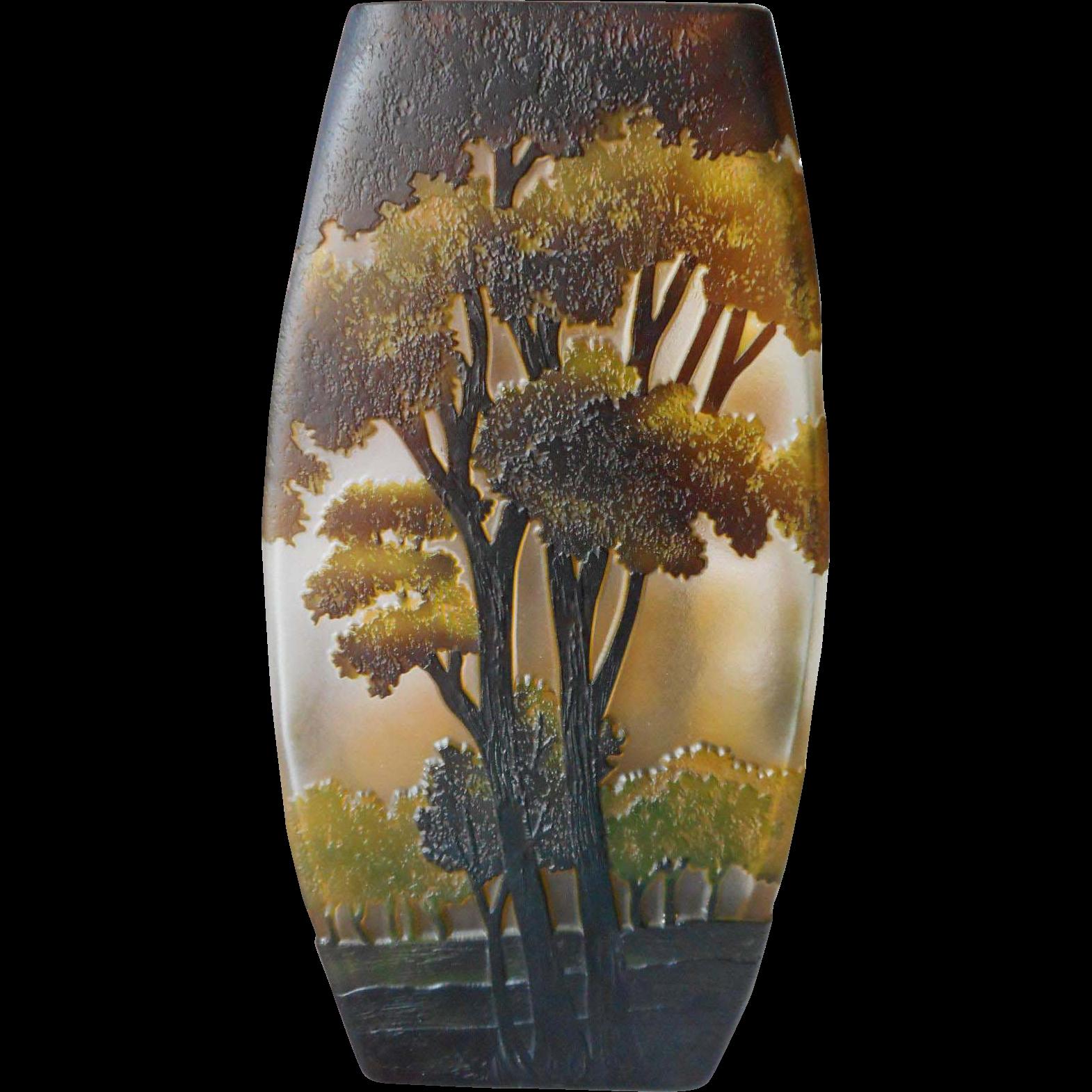 Cameo Glass Vase Trees 10 Inch Vintage Studio