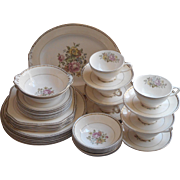 Set 1940s China Homer Laughlin Vintage Botanical Bouquets Soft Colors Arcadia Monticello