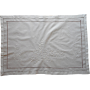 Antique Italian Sham Layover All White Hand Embroidery Cotton