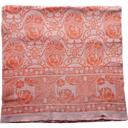 1920s Blanket Fabric Vintage Flannel For Craft TLC Orange White Cotton