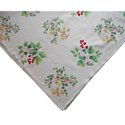 Vintage Tablecloth Print Printed Kitchen Flowering Shrubs Berries
