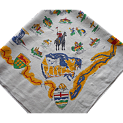 Canada Souvenir Tablecloth Vintage Printed Linen Square