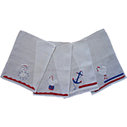 Cocktail Napkins Vintage Linen Red White Blue Appliqued Hand Embroidery