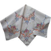 Tea Tablecloth Hand Embroidered Cotton Vintage Bright Tiny Cross Stitching