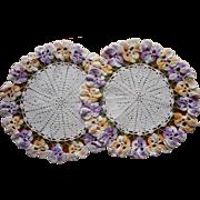 Vintage Doilies Pansies Pair Crocheted Lace Vintage Vanity Lamp Doilies