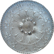 Antique Button Lacy Glass Clear Silvered Back