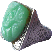1930s Chinese Silver Ring Vintage Bright Green Jade