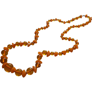 Vintage Bakelite Necklace Apple Juice Faux Baltic Amber Beads Nice And Long