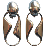 Vintage Modernist Sterling Silver Earrings Zina Dangle Clip