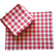 18 Napkins Vintage Red White Checked Classic Some TLC