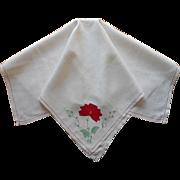 Tea Tablecloth Vintage Red Appliqued Flower Natural Color linen