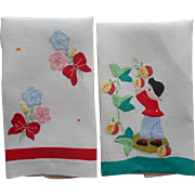 1930s Guest Towels Hand Vintage Appliqued Embroidery Linen Charming TLC
