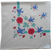 Vintage Tablecloth Bluebirds Print Kitchen Cotton TLC Aqua Blue Red