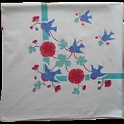 Vintage Tablecloth Bluebirds Print Kitchen Cotton TLC Aqua Blue Red