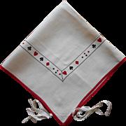 1920s Card Table Cover Tablecloth Vintage Linen Bridge Tie On Card Suits Trim
