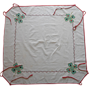 1920s Card Table Cover Tablecloth Vintage Tie On Appliqued Hand Embroidered Lucky Clover