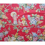 1920s Chinoiserie Fabric Print Vintage Cotton Chintz Red Lady Parasol Flute Player Floral