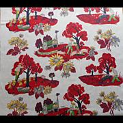 Vintage 1950s Curtain Panel Fabric Print Farm Life Pigs Apples Hay