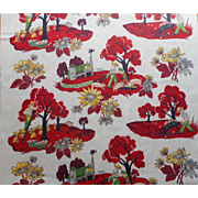 Vintage 1950s Curtain Panel Fabric Print Farm Life Pigs Apples Hay