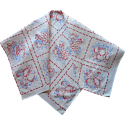 Vintage 1940s Tea Tablecloth Small Kitchen Table Topper Printed Fruits Red Blue