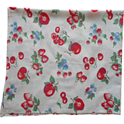 Vintage Tablecloth Fruits Print Kitchen Red Blue Green White Soft Cotton