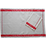 Vintage Towels Linen Red Stripes Glass Towels Unused