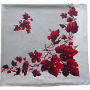 Vintage Tablecloth 1950s Gray Red Maroon White Print Cotton Square