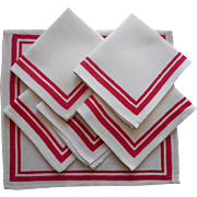 Vintage Napkins Red Striped Borders Linen Great With Printed Tablelcoth