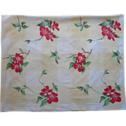 Vintage Tablecloth Wilendur Red Dogwood Yellow Shadow Plaid