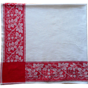 Vintage Tablelcoth Red White Cotton Damask A Little TLC