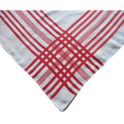 Vintage Tablecloth Red Striped Borders Linen 1930s