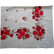 Vintage Tablecloth Red Roses Kitchen Print Cotton
