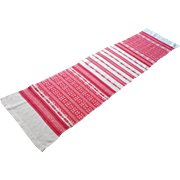 Vintage Runner 1950s Red Cream Stripes Synthetic Wool Long 55.5 x 13.5 Inches