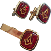 Vintage Masonic Tie Bar Clip Cufflinks Set Red Glass Stones