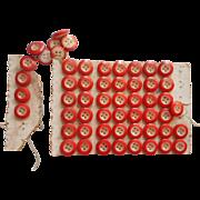 Antique Buttons China Ringers Orange Ring Original Card Set 55